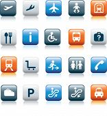 travel icon illustration set on blue and orange and grey