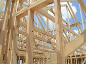 stock photo of 2x4  - new home framing - JPG
