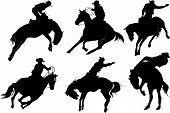 foto of bull-riding  - Cowboy on horse silhouettes on a white background - JPG