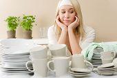 Modern Kitchen - Frustrated Woman In Kitchen