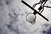 Silhouette Of Basketball Hoop With Sky In The Background poster