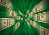 $100 Bills Flying Through A Green Vortex