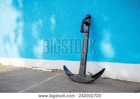 Large Black Ship Anchor At