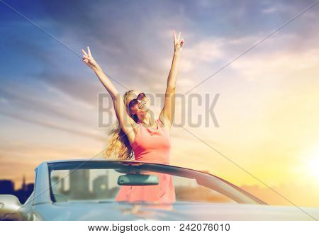 poster of travel, summer holidays, road trip and people concept - happy young woman wearing sunglasses in conv