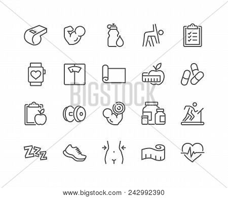 poster of Simple Set Of Fitness Related Vector Line Icons. Contains Such Icons As Workout, Sleep, Diet Plan, S
