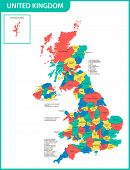 The Detailed Map Of The United Kingdom With Regions Or States And Cities, Capitals. Actual Current R poster