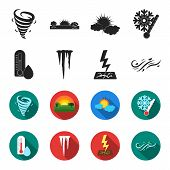 Humidity, Icicles, Thunderbolt, Windy Weather. Weather Set Collection Icons In Black, Flet Style Vec poster