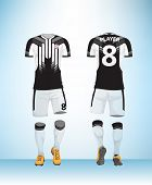Soccer Jersey Or Football T-shirt Mock Up. Front And Back View Black And White Uniform. Vector Illus poster