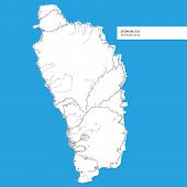 Постер, плакат: Map Of Dominica Island  dominica Contains Geography Outlines For Land Mass Water Major Roads And