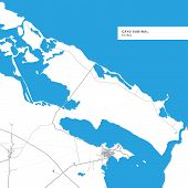 Map Of Cayo Sabinal Island,cuba, Contains Geography Outlines For Land Mass, Water, Major Roads And  poster