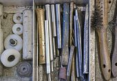 Tools In Drawer - Chisel, Punch, Steel Brush