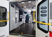 Detail of empty ambulance interior emergency vehicle