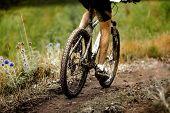 Athlete Cyclist Dirty Mountain Bike Biking In Trail poster