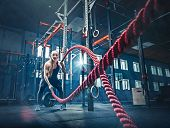 Woman With Battle Rope Battle Ropes Exercise In The Fitness Gym. Crossfit Concept. Gym, Sport, Rope, poster