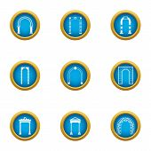 Arch Case Icons Set. Flat Set Of 9 Arch Case Vector Icons For Web Isolated On White Background poster