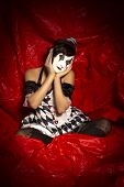 Attractive Girl Dressed As A Pierrot Clown