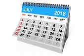 2018 Year Calendar. July Calendar On A White Background. 3d Rendering poster