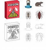 Staff, Packing With Poison And Pests Cartoon, Outline Icons In Set Collection For Design.pest Contro poster