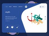 Quality One Page Myth Website Template Vector Eps, Modern Web Design With Flat Ui Elements And Lands poster