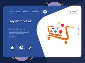 Quality One Page Super Market Website Template Vector Eps, Modern Web Design With Flat Ui Elements A poster