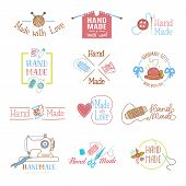 Handmade Logo Vector Wool Knitting Needles Or Sewing Handcraft Hobby Workshop Logotype Illustration  poster