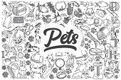 Hand Drawn Pets Doodle Set. Lettering - Pets poster