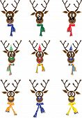Vector Set Christmas With Reindeer