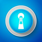 White Keyhole Icon Isolated On Blue Background. Key Of Success Solution, Business Concept. Keyhole E poster