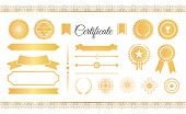 Certificate Labels Awards And Ribbons, Golden Signs And Stamps, Seals And Water Marks Vector Illustr poster