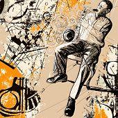 Ilustração em vetor de um saxofonista em um fundo de grunge