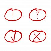 Mark Red Marker. Tick And Cross, Exclamation And Question Symbol. Cross Mark, Check Tick Sketch, Han poster