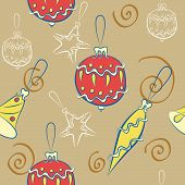 Seamless Background With Christmas Decorations