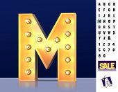 Letter M From Alphabet. Glowing Letter M. Bulb Type M. 3d Illuminated Light Bulb Symbol Letter M. Re poster