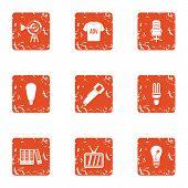 Environmental Advertising Icons Set. Grunge Set Of 9 Environmental Advertising Vector Icons For Web  poster