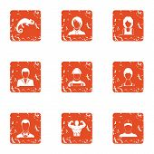Strong Character Icons Set. Grunge Set Of 9 Strong Character Vector Icons For Web Isolated On White  poster