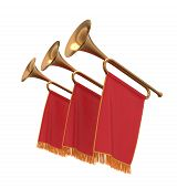 stock photo of trumpets  - Three trumpets with a red flags pennants banners - JPG