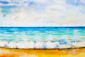 Watercolor Seascape Original Painting Colorful Of Sea View, Beach, Wave And Skyline, Cloud Backgroun poster
