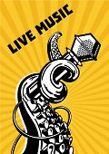 Live Music. Rap Show. Octopus Tentacles With Microphone. Musical Poster Background For Hip-hop Party poster
