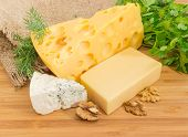 Pieces Of Medium-hard Swiss Cheese, Hard Cheese, Blue Cheese With Greens And Walnut Kernels On The B poster