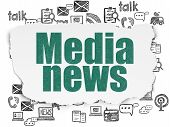 News Concept: Painted Green Text Media News On Torn Paper Background With  Hand Drawn News Icons poster