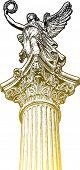 Goldene Muse Statue, der Leiter der Kandelaber