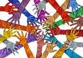 Concept Of Diversity And Crowd Cooperation Symbol As Diverse Hands Holding Together In A 3d Illustra poster