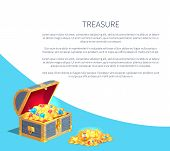 Treasure Poster With Wooden Chest Full Of Ancient Gold Treasures. Bright Gems, Precious Jewelry And  poster