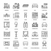 Furniture Vector Flat Line Icons. Living Room Tv Stand, Bedroom, Home Office, Kitchen Corner Bench,  poster