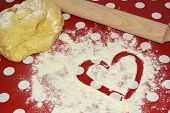 Heart Of Flour And Rolling Pin. Baking Concept With Free Text Space. Baking Preparation Top View Of  poster