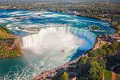 Aerial Top Landscape View Of Niagara Falls And Tour Boat In Water Between Us And Canada.  Horseshoe  poster