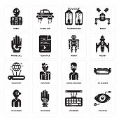 Set Of 16 Simple Editable Icons Such As Eye Scan, Keyboard, Wi Gloves, Vr Glasses, Ar Robot, Phone C poster