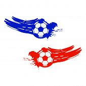 Soccer And Football Balls For Labels And Emblems. Vector Elements Set Color. Football Emblem, Label  poster