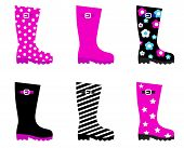 Fresh & Colorful Rain Wellies Boots Isolated On White..