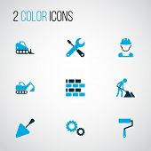 Industry Icons Colored Set With Excavator, Wall Painter, Cogwheel And Other Putty Knife Elements. Is poster